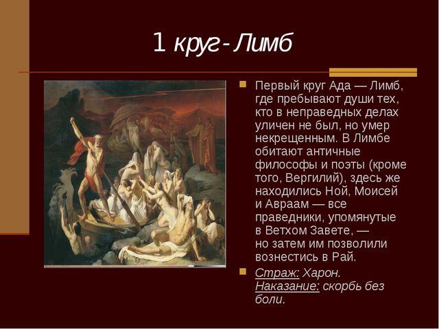 1 круг - Лимб Первый круг Ада— Лимб, где пребывают души тех, кто внеправед...