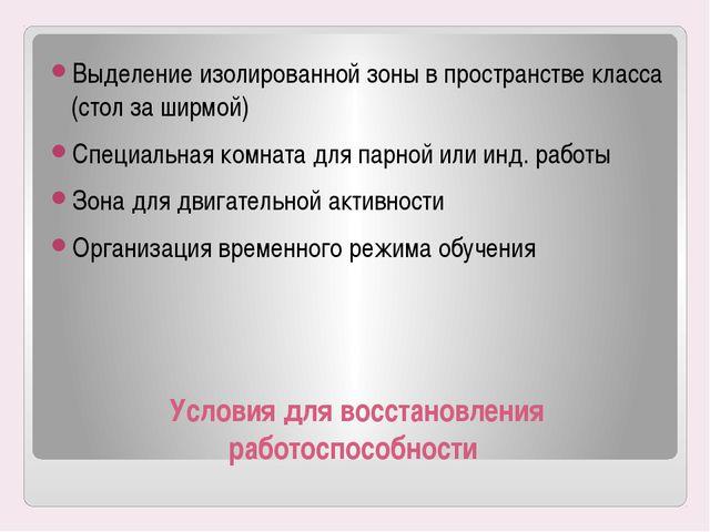 Условия для восстановления работоспособности Выделение изолированной зоны в п...