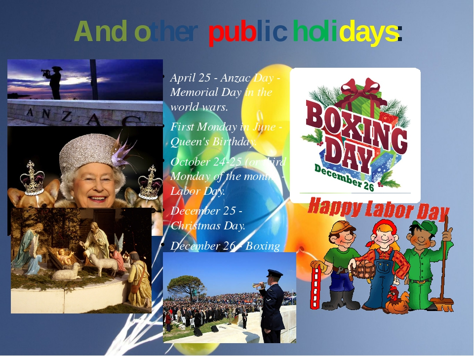 And other public holidays: April 25 - Anzac Day - Memorial Day in the world w...
