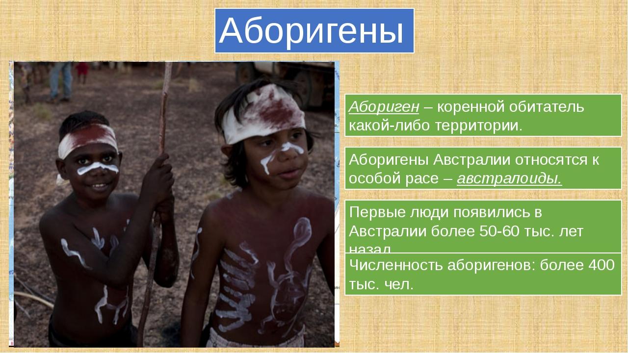Аборигены Абориген – коренной обитатель какой-либо территории. Аборигены Авст...