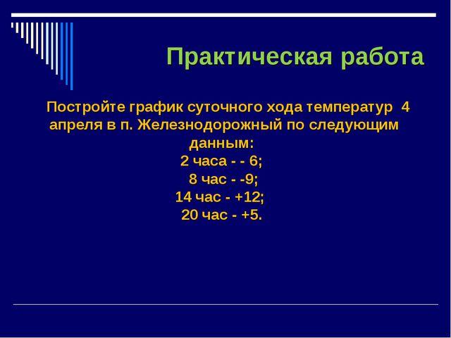 Практическая работа Постройте график суточного хода температур 4 апреля в п....