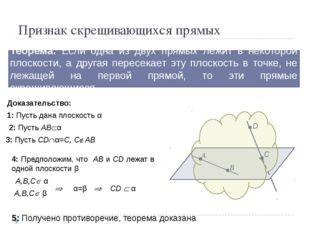 Признак скрещивающихся прямых Теорема: Если одна из двух прямых лежит в некот