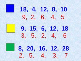 18, 4, 12, 8, 10 9, 2, 6, 4, 5 8, 20, 16, 12, 28 2, 5, 4, 3, 7 9, 15, 6, 12,