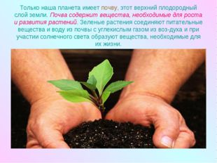 Только наша планета имеет почву, этот верхний плодородный слой земли. Почва с