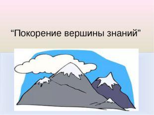 """""""Покорение вершины знаний"""""""
