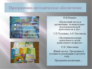 Программно-методическое обеспечение Н.В.Нищева «Проектный метод в организации