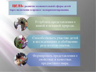 цель: развитие познавательной сферы детей через включение в процесс эксперим