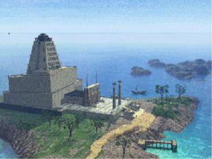 Маяк состоял из трёх мраморных башен, стоявших на основании из массивных кам