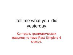 Tell me what you did yesterday Контроль грамматических навыков по теме Past S