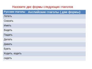 Назовите две формы следующих глаголов Русские глаголы Английские глаголы ( дв