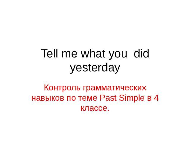 Tell me what you did yesterday Контроль грамматических навыков по теме Past S...