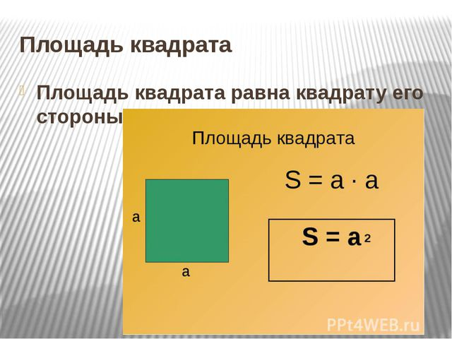 Площадь квадрата Площадь квадрата равна квадрату его стороны:
