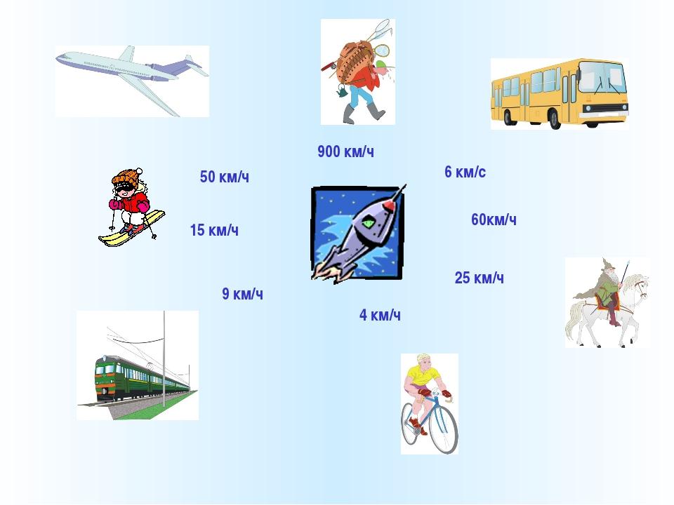 50 км/ч 900 км/ч 6 км/с 60км/ч 25 км/ч 4 км/ч 9 км/ч 15 км/ч