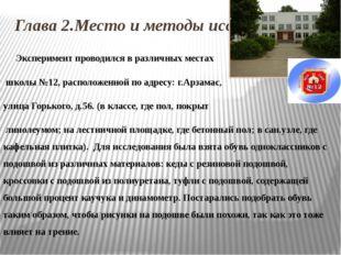 Глава 2.Место и методы исследования Эксперимент проводился в различных местах