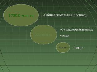 1709,9 млн га 222 млн га 126 млн га -Общая земельная площадь -Сельскохозяйств