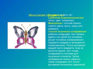 Монотипия предметная Возраст: от пяти лет. Средства выразительности: пятно,