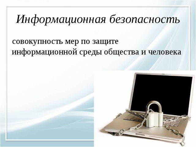 Информационная безопасность совокупность мер по защите информационной среды о...