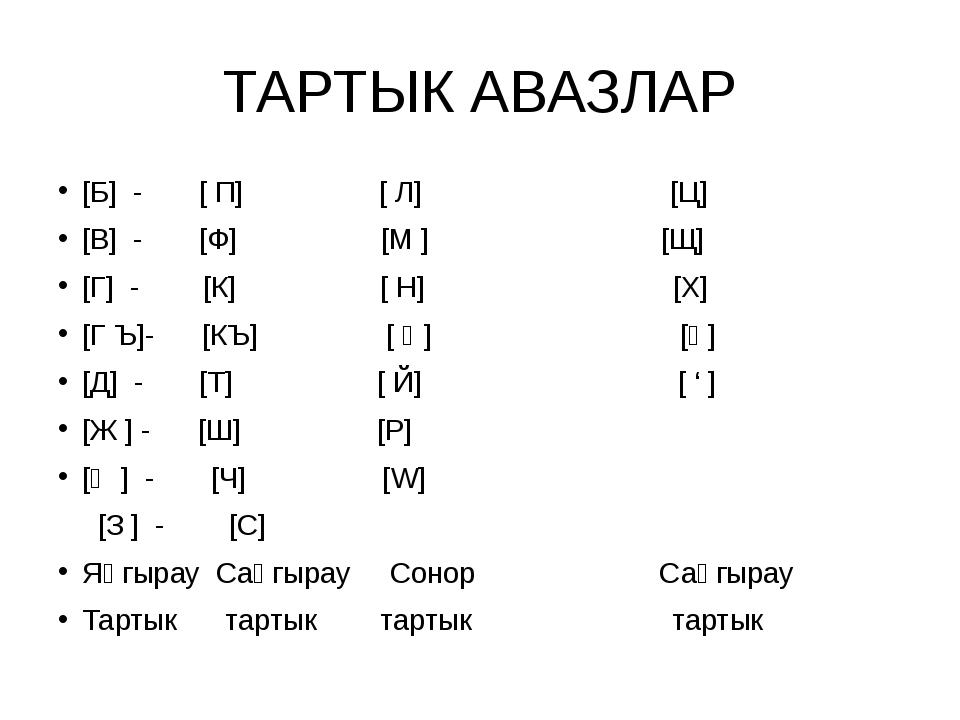 ТАРТЫК АВАЗЛАР [Б] - [ П] [ Л] [Ц] [В] - [Ф] [М ] [Щ] [Г] - [К] [ Н] [Х] [Г Ъ...