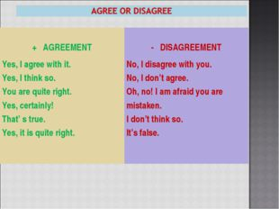 + AGREEMENT - DISAGREEMENT Yes, I agree with it. Yes, I think so. You are q