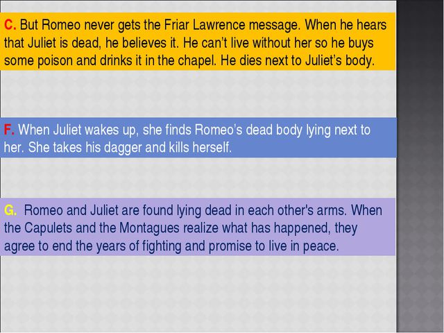 G. Romeo and Juliet are found lying dead in each other's arms. When the Capul...