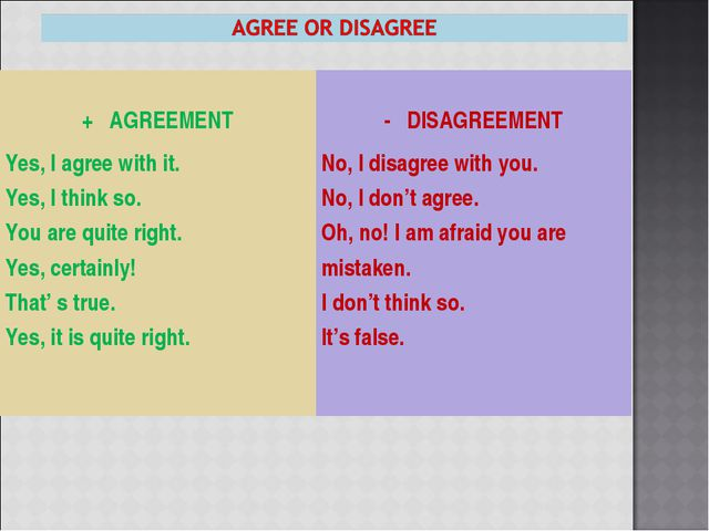 + AGREEMENT - DISAGREEMENT Yes, I agree with it. Yes, I think so. You are q...