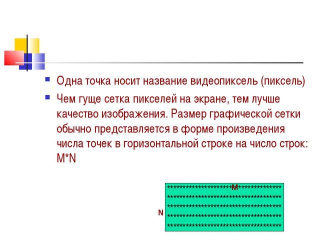 Одна точка носит название видеопиксель (пиксель) Чем гуще сетка пикселей на э...