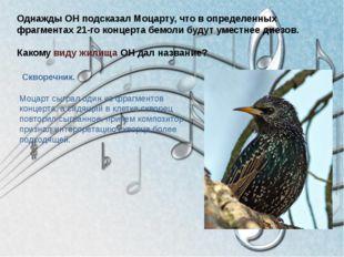 Однажды ОН подсказал Моцарту, что в определенных фрагментах 21-го концерта бе
