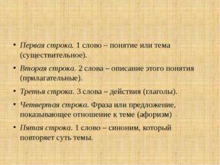 Первая строка. 1 слово – понятие или тема (существительное). Вторая строка.