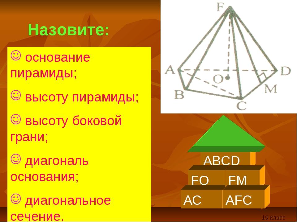основание пирамиды; высоту пирамиды; высоту боковой грани; диагональ основан...