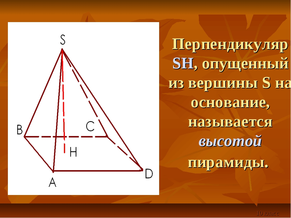 Перпендикуляр SH, опущенный из вершины S на основание, называется высотой пир...