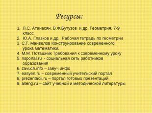 Ресурсы: 1. Л.С. Атанасян, В.Ф.Бутузов и др. Геометрия. 7-9 класс 2. Ю.А. Гла