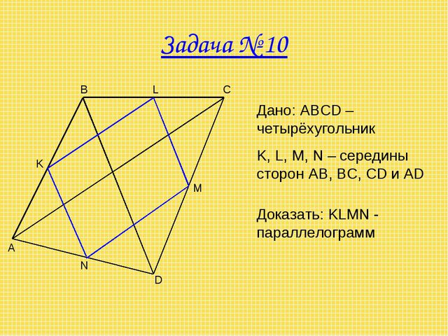 Задача № 10 A B C D M N K Дано: ABCD – четырёхугольник K, L, M, N – середины...