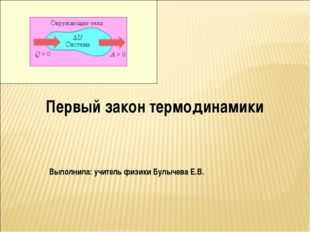 Первый закон термодинамики Выполнила: учитель физики Булычева Е.В.