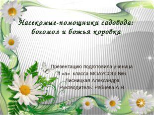 Насекомые-помощники садовода: богомол и божья коровка Презентацию подготовила
