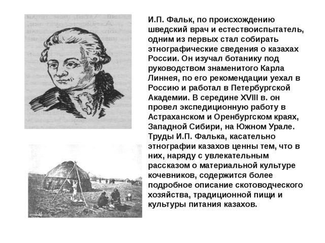 И.П. Фальк, по происхождению шведский врач и естествоиспытатель, одним из пер...