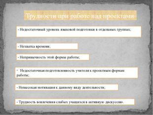 Трудности при работе над проектами: - Недостаточный уровень языковой подготов
