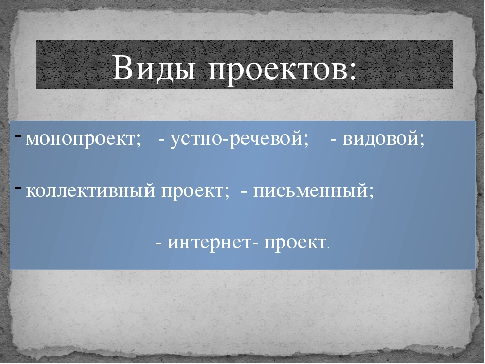 Виды проектов: монопроект; - устно-речевой; - видовой; коллективный проект;...