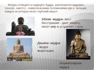 Фигуры стоящего и сидящего Будды различаются мудрами - (санскр. «жест») - си