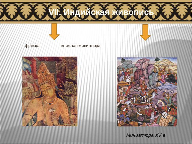 фреска книжная миниатюра VII. Индийская живопись Миниатюра XV в