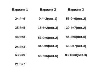 Вариант 1 Вариант 2 Вариант 3 24:4=6 9:4=2(ост.1) 56:9=6(ост.2) 35:7=5