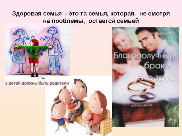 Здоровая семья - это та семья, которая, не смотря на проблемы, остается семьей