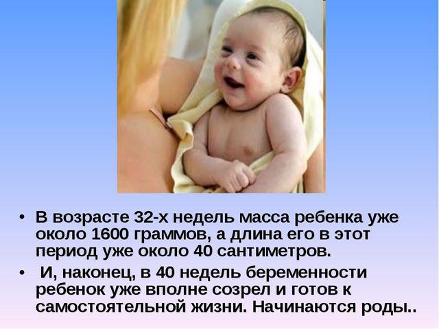 В возрасте 32-х недель масса ребенка уже около 1600 граммов, а длина его в эт...