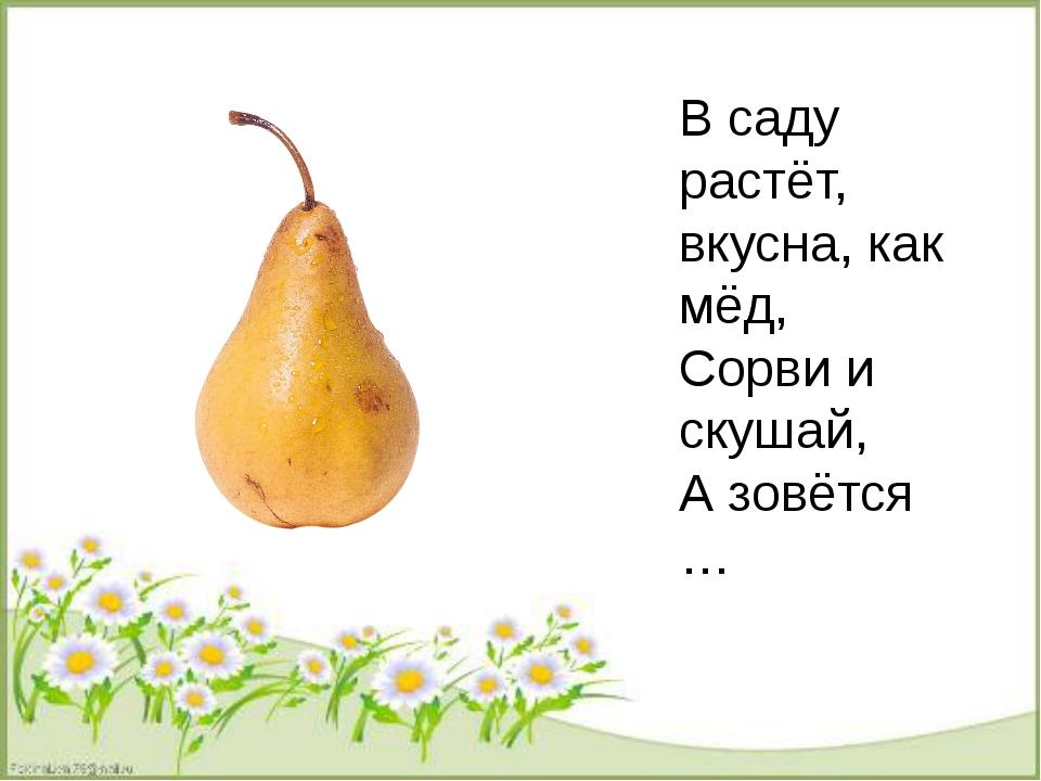 В саду растёт, вкусна, как мёд, Сорви и скушай, А зовётся …