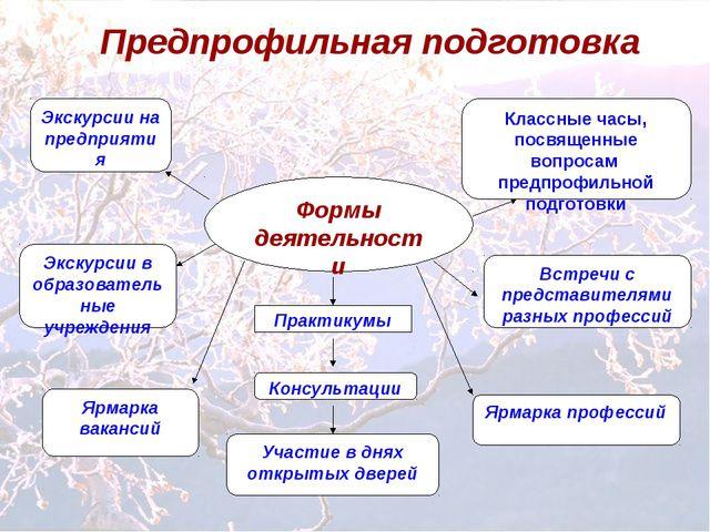 Предпрофильная подготовка Формы деятельности Экскурсии на предприятия Экскурс...