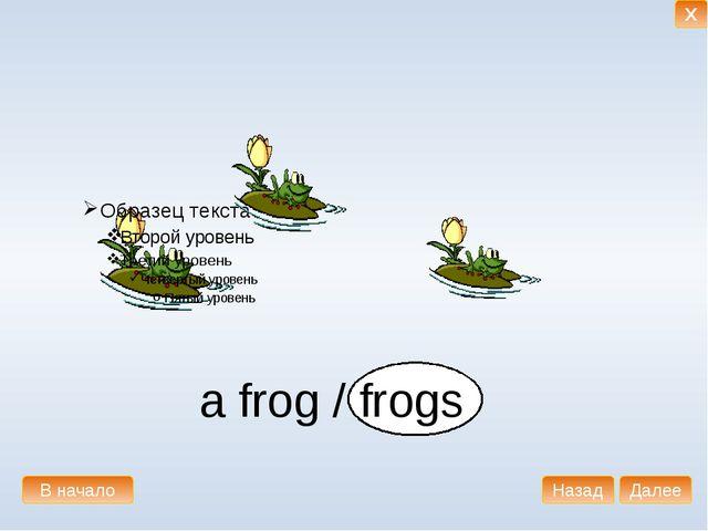 a frog / frogs В начало Далее Назад X