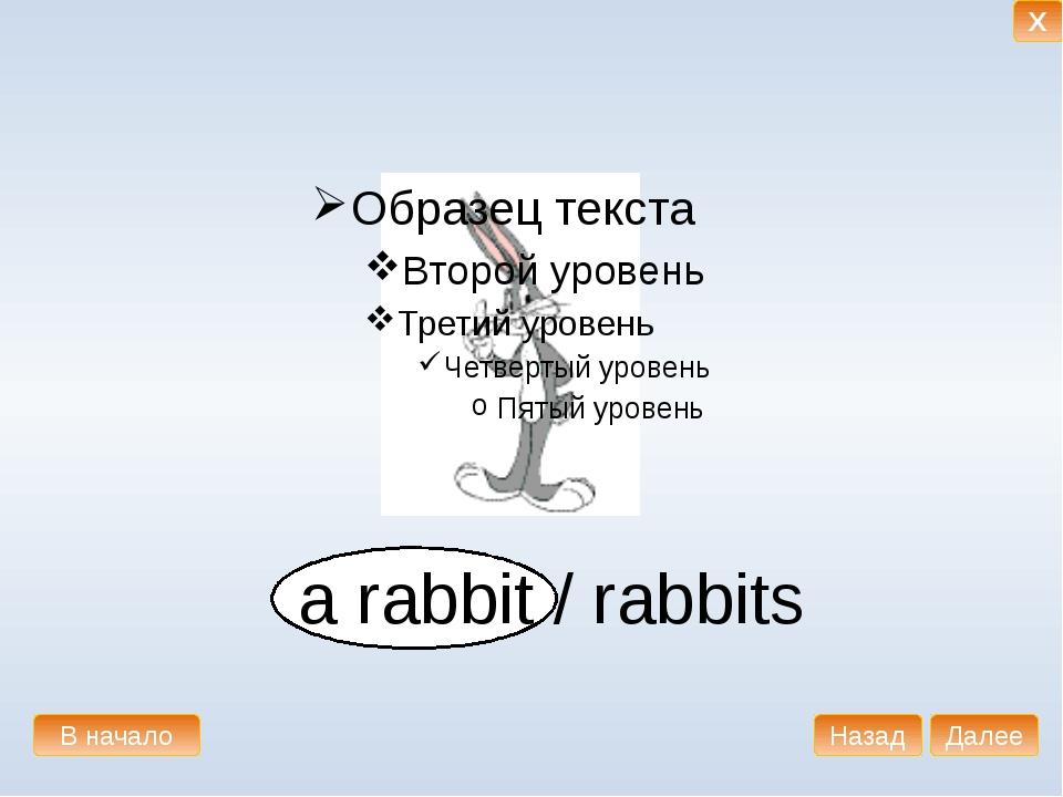 a rabbit / rabbits В начало Далее Назад X