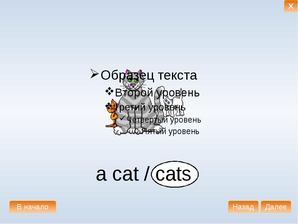 a cat / cats В начало Далее Назад X