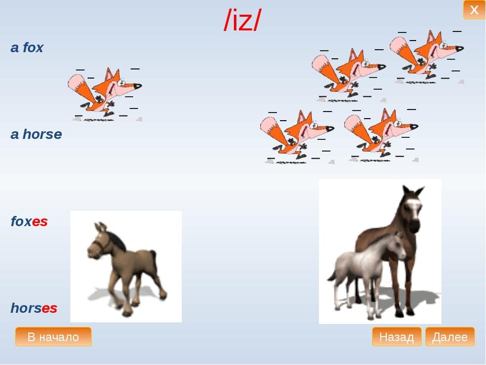 /iz/ a fox a horse foxes horses В начало Далее Назад X