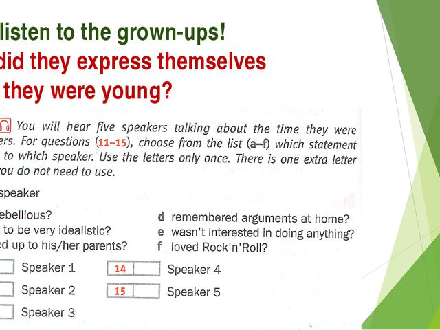 Let's listen to the grown-ups! How did they express themselves when they were...