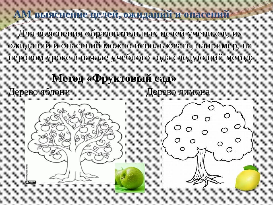 АМ выяснение целей, ожиданий и опасений Для выяснения образовательных целей у...